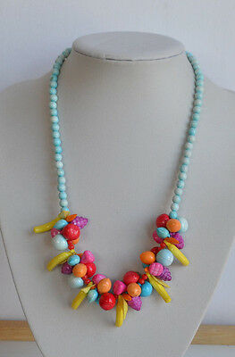 VINTAGE molded fruits charms multi-color plastic NECKLACE  blue pink yellow