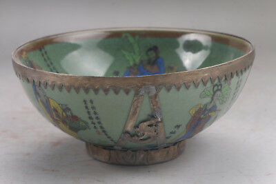 Chinese Collectable Hand-carve Tibetan silver Porcelain character bowl aa939