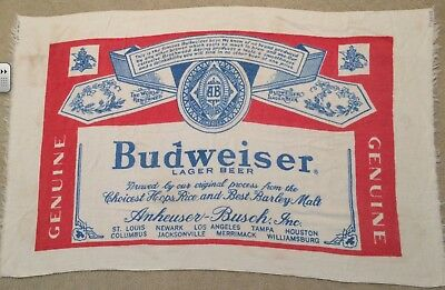 Budweiser vintage 1970s beach towel white cotton King of Beers fringed pre-owned