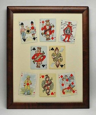 Framed rare collection of Antique Hustling Joe No. 61 Playing cards - 1895