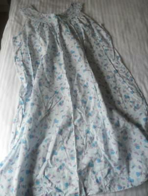 Vintage 1960's Ladies Blue Floral Cotton Nightie White Broderie Lace Trim 18