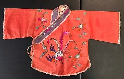 Child's Republic 30's Vintage Child Robe Embroidered Silk Chinese Jacket