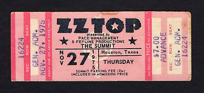 1975 ZZ Top REO Speedwagon Unused Concert Ticket Houston TX Fandango Tour