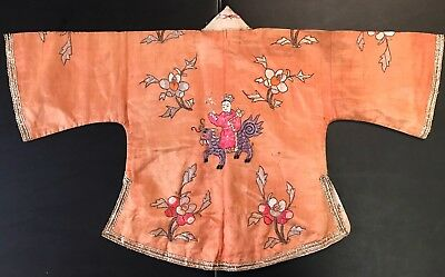 Peach Color republic 30's Child's Embroidered Silk Jacket Robe Acrobats! Chinese