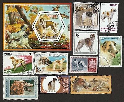 BORZOI **Int'l Dog Postage Stamp Collection ** Unique Gift ** Russian Wolfhound