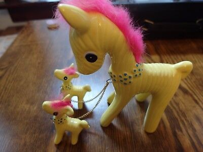 vintage horse ornament with 2 babies on chains