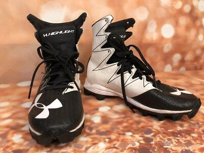 Under Armour 3.5 Y Clutchfit Cleats Highlight Black White Kids Football High Top
