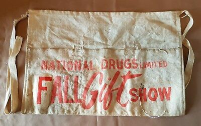 Vintage NATIONAL DRUGS FALL GIFT SHOW Change / Nail Apron Pouch Canvas Cloth