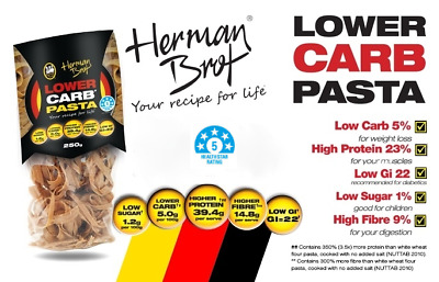 Herman Brot Lower Carb Pasta 250g Natural Protein Low GI Diabetics Vegan