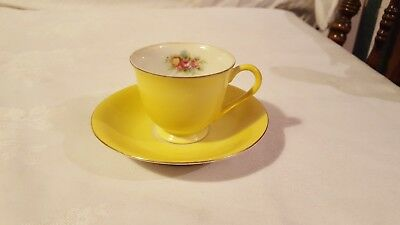 Vintage Occupied Japan Castle China Teacup & Saucers Yellow Demitasse