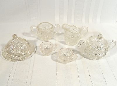 EAPG CHILD'S 6 PC  SWEETHEART CAMBRIDGE GLASS c.1900 Cream Sugar Tea Cup Toy