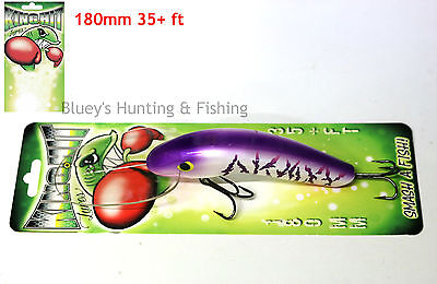 King Hit Lures 180mm Diver 35+ ft Fishing Murray Cod Lure; Purple & White