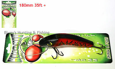 King Hit Lures 180mm Diver 35+ ft Fishing Murray Cod Lure; Red