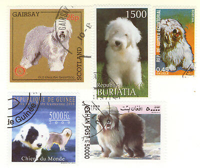 OLD ENGLISH SHEEPDOG ** Int'l Dog Postage Stamp Collection ** Unique Gift **