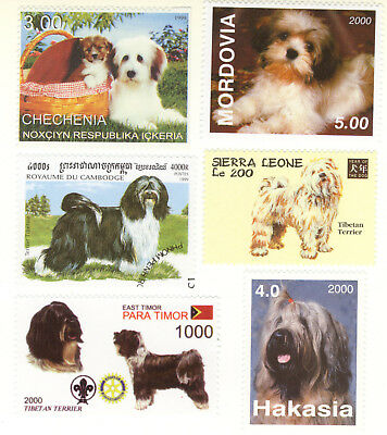 TIBETAN TERRIER ** Int'l Dog Postage Stamp Collection **Unique Gift Idea**