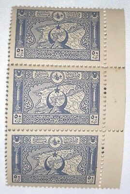 Turkey -1917 STRIP OF 3 - 50pa Blue(Map) MINT UNHINGED.-100 years Old.!!!!!!