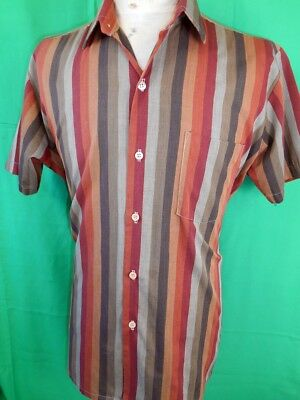 Vintage 60s Green Brown Striped Glenwear Poly/Cotton Short Sleeve Casual Shirt M