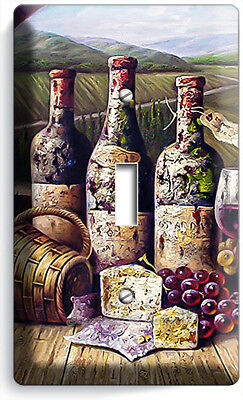 Vintage Winery Wine Cellar Bottles Single Light Switch Wall Plate Kitchen Decor