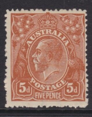 AUSTRALIA KGV 5d Brown SINGLE CROWN WMK MINT/MLH (DK6b)