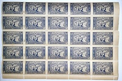 Turkey -1917 HALF SHEET 25 - 50pa Blue(Map) MINT UNHINGED.-100 years Old.!!!!!B