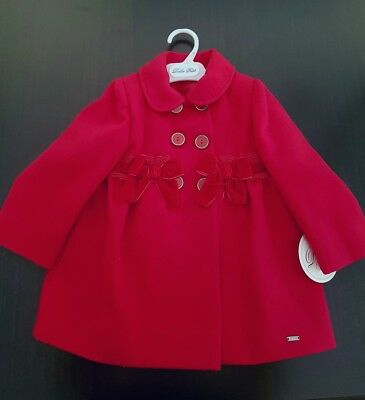 Dolce Petit Baby girls Red double breasted bow jacket coat size 24m