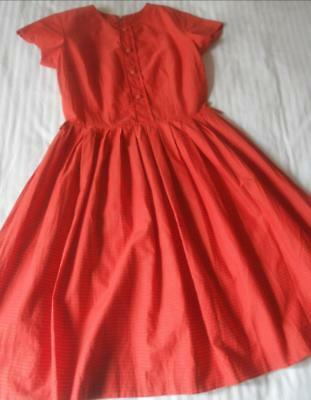 Vintage Early 1960's Red With Khaki Stripes Cotton Dress Full Skirt Size 12T