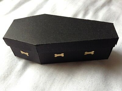 "Die Cut 3 ""Coffin Boxes""Halloween With Bone Handles"