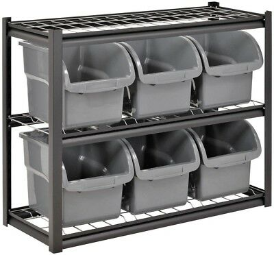 Garage Wire Shelving Rack 2-Shelf 6-Bin Stackable 33 H x 44 W x 16 D Black