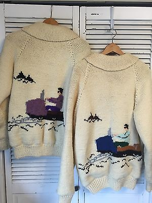 2 Vintage His/Hers Cowichan Sweaters Hand Knit USA Snowmobile Motif M/L