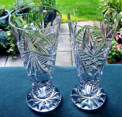 "Pair Of 7 3/8"" Footed Cut Glass Crystal Vases - Crescents, Fans, Diamonds,mitres"