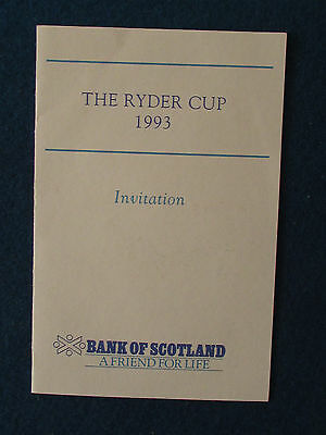 Ryder Cup 1993 - The Belfry - Marshal's Lunch Invitation - 24/9/93 - RBS