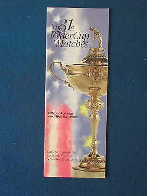 Ryder Cup 1995 - Oak Hill, New York - Pairings & Starting Times Guide