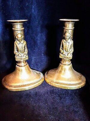 Antique / victorian William Shakespeare solid brass candle sticks nice