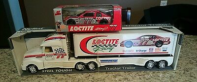 Loctite 77 Racing Steel Transport Tractor Trailer And Diecast Car
