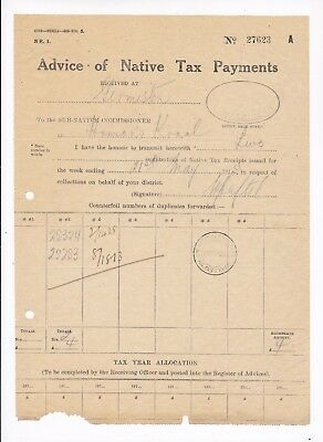 Advice of NATIVE TAX Payments received Germiston for Hamanskraal May 1915