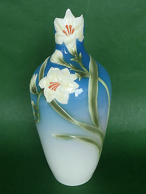 """NEW Franz Porcelain Vase - Yellow Freesia Flowers on Blue - 9.5"""" or 24 cm tall"""