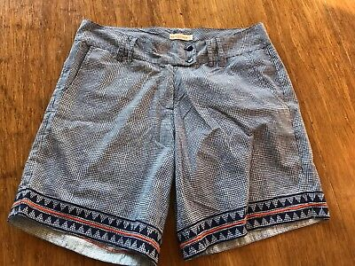 BOOM SHANKAR Blue Cotton Patterned Shorts sz 12 As NEW