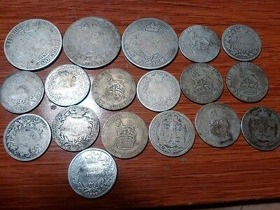Great Britain United Kingdom scrap sterling silver coin lot 4 ounces 1835-1921