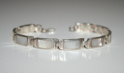 "STERLING SILVER 925 IBB Inlaid Mother-of-Pearl BRACELET 7"" long"