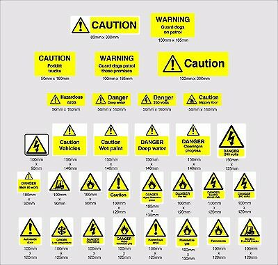 Yellow Warning safety signs, caution, slip, etc Vinyl wall stickers signs