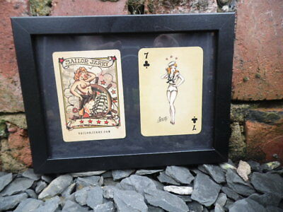 Sailor Jerry Framed Lucky 7 Playing Cards Clubs Tattoo Studio Old Vintage Flash