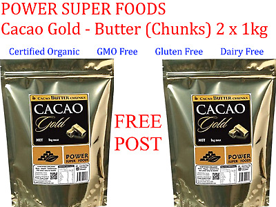 2 x 1kg POWER SUPER FOODS CACAO GOLD POWER Butter Chunks Gluten Free * FREE POST