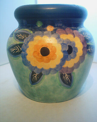 Stunning Art Deco Painted Vase Unsigned