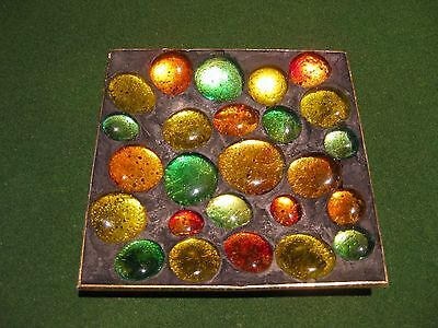 Retro Dish With 25 Colourful Glass Stones - 1970s - Postage Or Pick-up Available