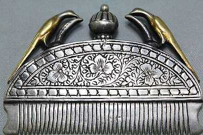 Beautiful Women's Hair Comb Pin Clip, Sterling Silver & Gold Plating On Birds