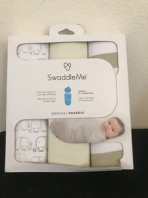 (3) Summer Infant SwaddleMe 3 Pack Original Swaddle Small 0-3 Month Swaddle me