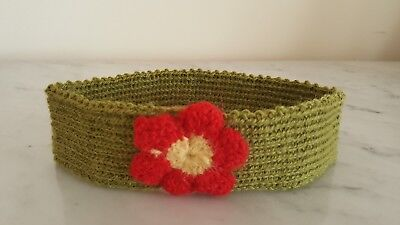 Lovely Baby Headband 100% Alpaca. (0 - 12 month). Colour olive green