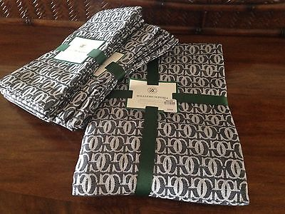 "NWT Williams-Sonoma Blk Jacquard Tablecloth 70x108"" W/ 8 Napkins MSRP $229"