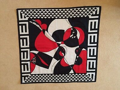 Vintage Striking Red Black And White Square Scarf From Early 1980's - Art Deco