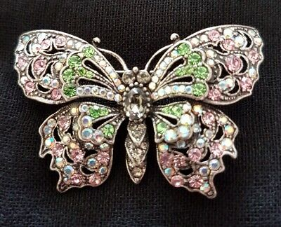 Beautiful Vintage Sparkling Colourful Butterfly Brooch